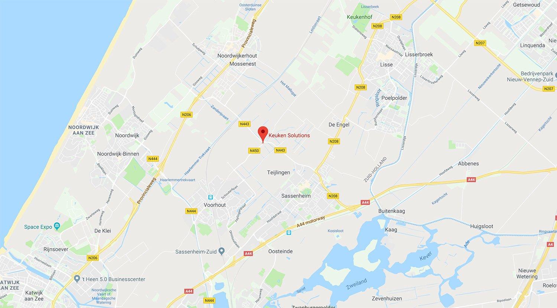 Kaart met daarop de locatie van Keuken Solutions aangegeven